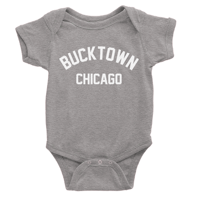 Heather Grey onesie with white Bucktown chicago logo
