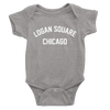 Heather Grey Onesie with white Logan Square Chicago Print