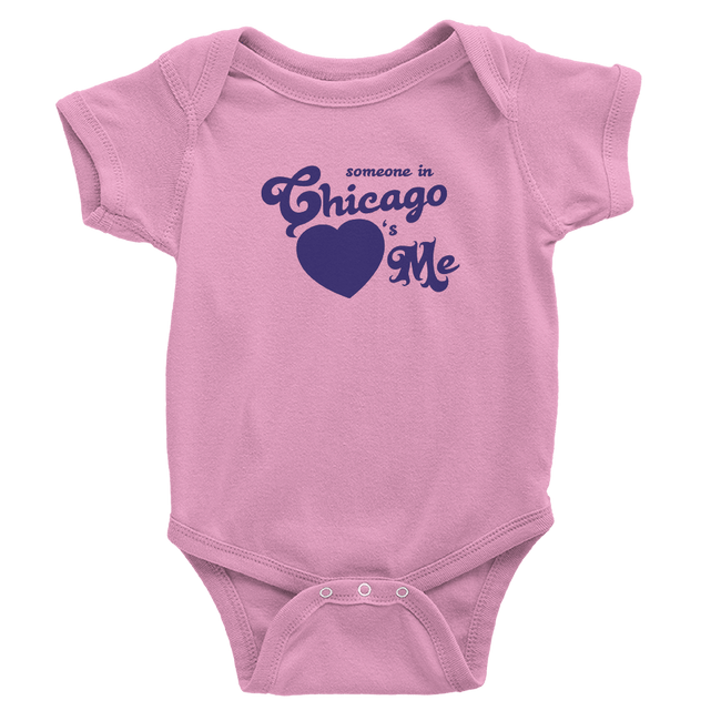 pink onesie with purple chicago hearts me design