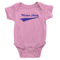 pink onesie with purple wicker park design