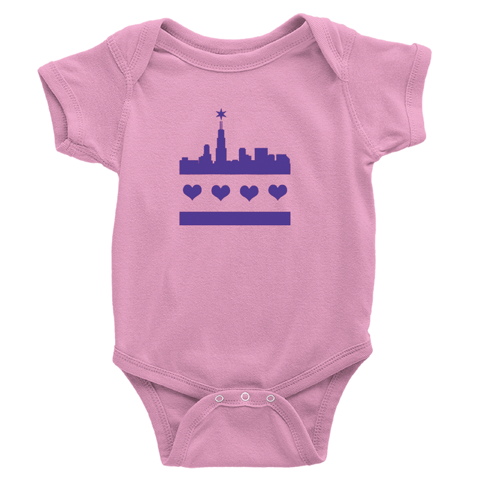 Pink onesie with Festive chicago flag skyline design in purple