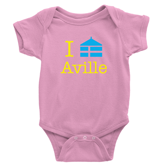 pink onesie with Aville logo in yellow and royal blue