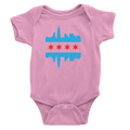 Pink Chicago onesie with baby blue and red flag and skyline design