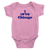 Pink onesie with I love Chicago Design in Purple