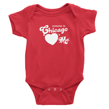 Red onesie with white Chicago hearts me design