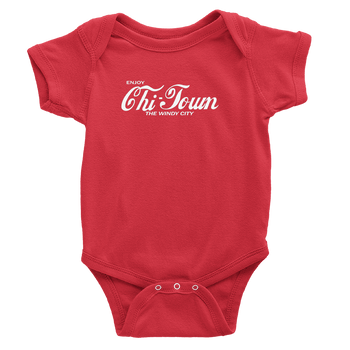 Red onesie with white Enjoy Chi-town design