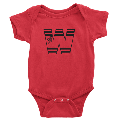 Red Onesie with Blackhawks W and feathers design