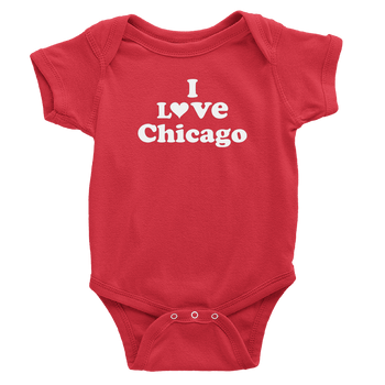 Red onesie with I love Chicago design in white
