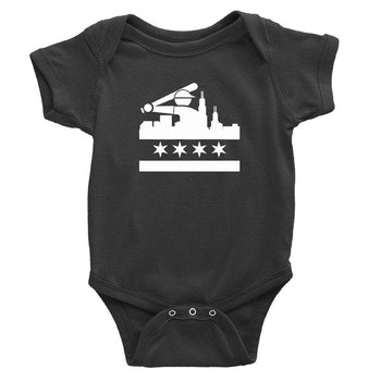 Black onesie with chicago white Sox design in white