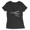 Womens Chicago Train Womens V-Neck The T-Shirt Deli, Co. 2 EXTRA LARGE