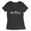 Womens Chi Town Est. 1837 Womens V-Neck The T-Shirt Deli, Co. 2 EXTRA LARGE