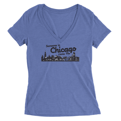 Womens Someone In Chicago Loves Me Womens V-Neck The T-Shirt Deli, Co. SMALL