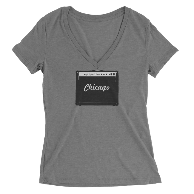 Womens Chicago Amp Womens V-Neck The T-Shirt Deli, Co. SMALL