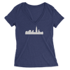 Womens Chicago Skyline Womens V-Neck The T-Shirt Deli, Co. SMALL