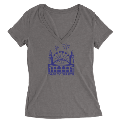 Womens Navy Pier Womens V-Neck The T-Shirt Deli, Co. SMALL