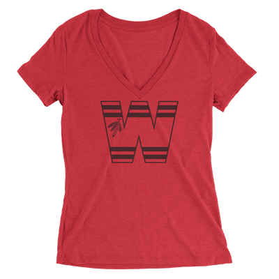 Womens W Blackhawks Womens V-Neck The T-Shirt Deli, Co. SMALL