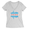 Womens Chicago Skyline Flag Womens V-Neck The T-Shirt Deli, Co. SMALL