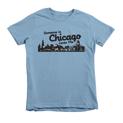 Kids Someone In Chicago Loves Me Kids Crew The T-Shirt Deli, Co. Baby Blue 6T