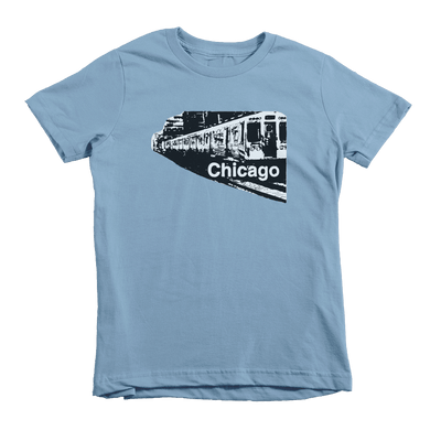 Kids Chicago Train Kids Crew The T-Shirt Deli, Co. Baby Blue 6T