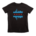 Kids Chicago Skyline Flag Kids Crew The T-Shirt Deli, Co. Black 6T