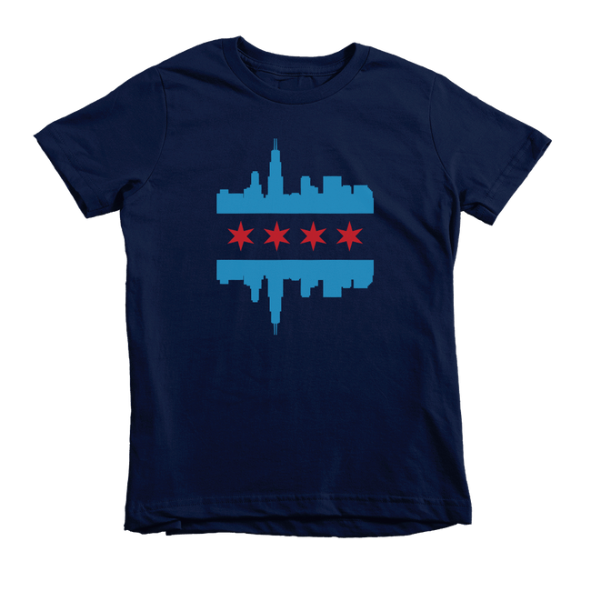 Kids Chicago Skyline Flag Kids Crew The T-Shirt Deli, Co. Navy 6T