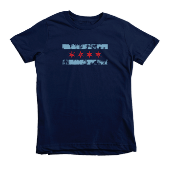 Kids Distressed Chicago Flag Kids Crew The T-Shirt Deli, Co. 2T