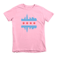 Kids Chicago Skyline Flag Kids Crew The T-Shirt Deli, Co. Pink 6T