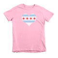 Kids Chicago Heart Flag Kids Crew The T-Shirt Deli, Co. Pink 6T