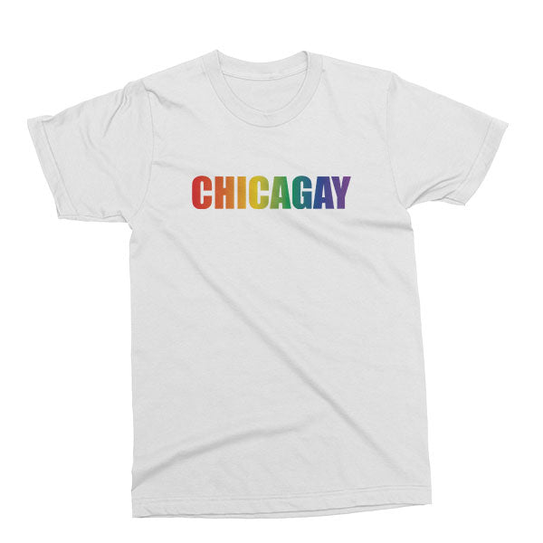 Chicagay Pride Unisex T-shirt in white