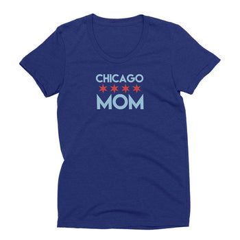 Womens tri-indigo Tri-blend Chicago Mom t-shirt