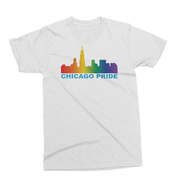 Chicago Pride unisex t-shirt in white.