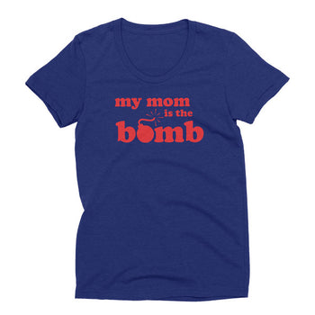 Womens tri-indigo Tri-blend My Mom Is The Bomb t-shirt
