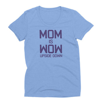 Womens Athletic Blue Tri-blend Mom is Wow t-shirt