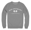 Heather Grey Alternative Apparel Sweatshirt with White design that says Rose Apothecary on it
