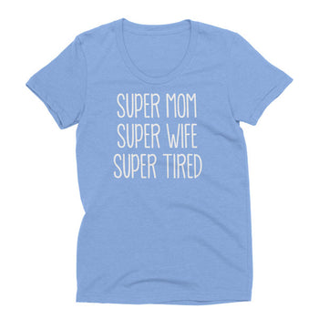 Womens Athletic Blue Tri-blend Super Tired t-shirt