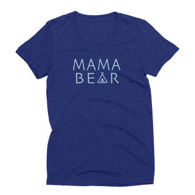 Womens tri-indigo Tri-blend Momma Bear t-shirt