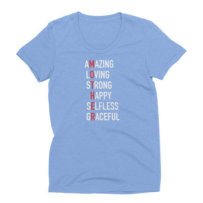 Womens Athletic Blue tri-blend Mother T-Shirt