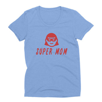 Womens Athletic Blue Tri-blend Super Mom t-shirt