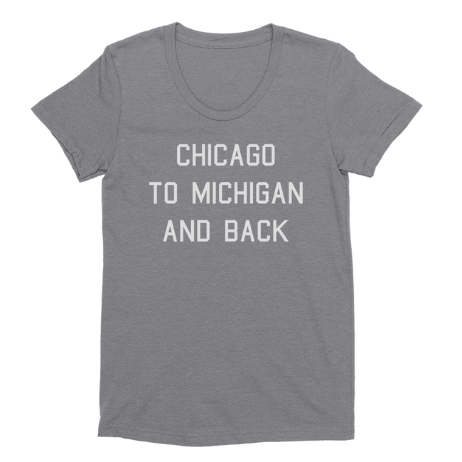Womens Chicago To Michigan And Back Womens Scoop Neck The T-Shirt Deli, Co. EXTRA LARGE
