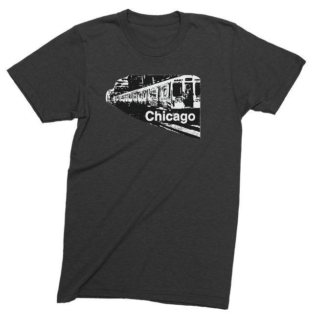 Mens/Unisex Chicago Train Mens Crew The T-Shirt Deli, Co. LARGE