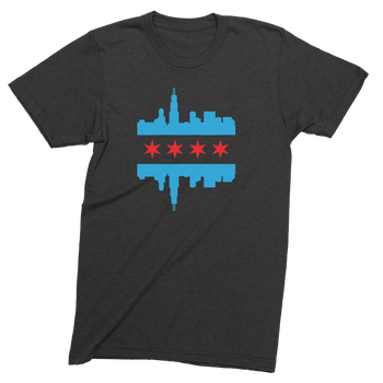 Mens/Unisex Chicago Skyline Flag Mens Crew The T-Shirt Deli, Co. LARGE