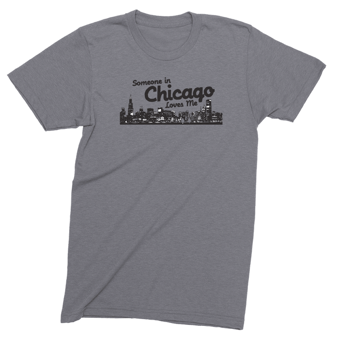 Mens/Unisex Someone In Chicago Loves Me Mens Crew The T-Shirt Deli, Co. LARGE