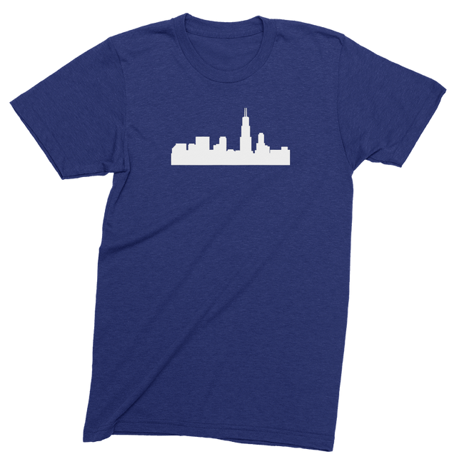 Mens/Unisex Chicago Skyline Mens Crew The T-Shirt Deli, Co. LARGE