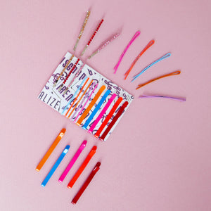 MULTI NEON HAIR PIN SET