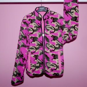 CAMO TEDDY BEAR REVERSIBLE JACKET - FUSCHIA MULTI