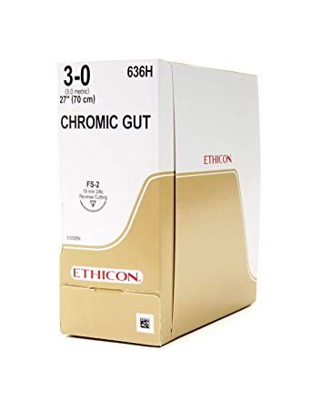 Ethicon Surgical Gut Suture - Chromic 636H (3-0 w/FS-2 Needle)