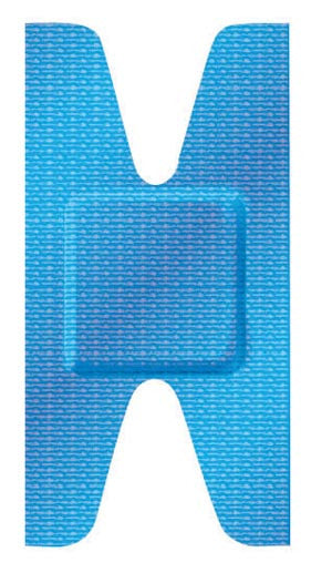 Blue Metal Detectable Adhesive Bandages Knuckle