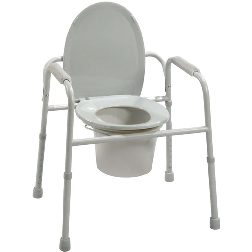 Drive-Deluxe All-In-One Welded Steel Commode with Plastic Armrests-11105N-4