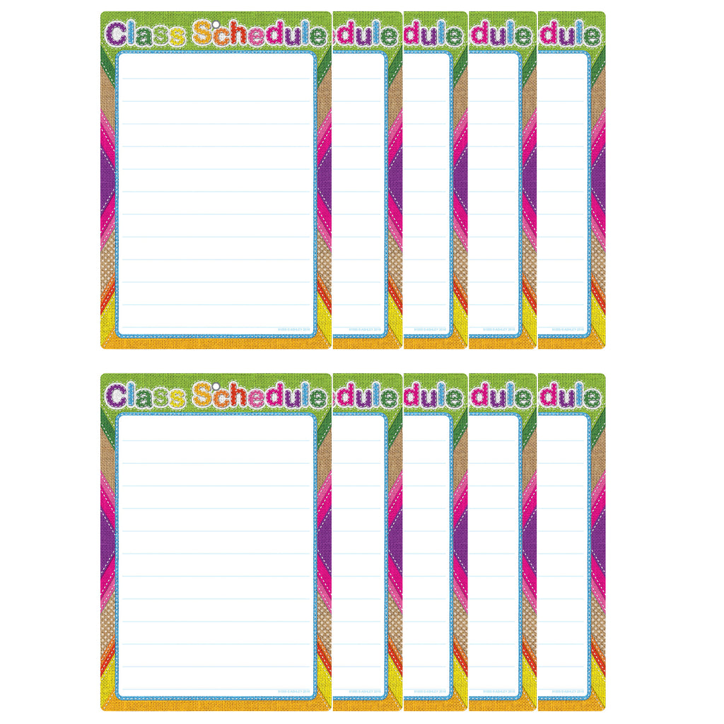 (10 Ea) Smart Burlap Stitched Class Sched Dry-erase Surface