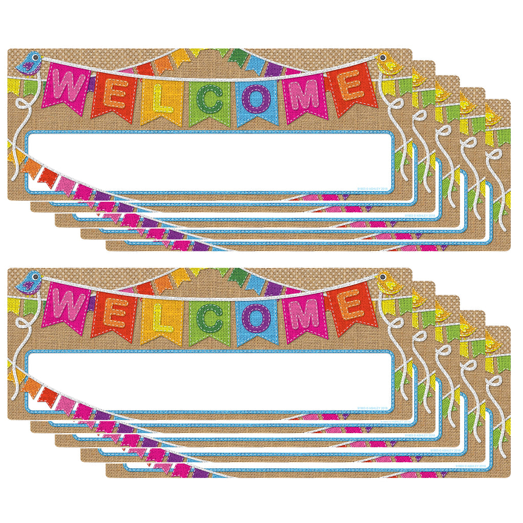 (10 Ea) Smart Poly Welcome Banner Burlap Dry-erase Surface